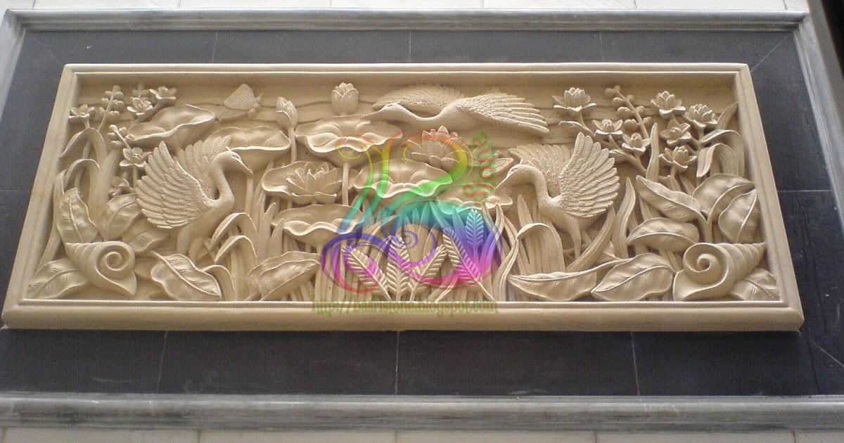 relief bunga lotus ukir batu alam paras jogja