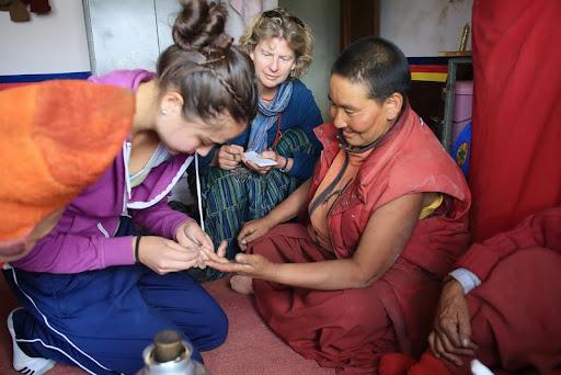 Hemoglobin testing at small nunnery in Zanskar, India, June 2012. Photo by Marlies Bosch.