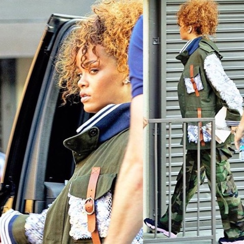 Rihanna in Rodarte Military Jacket and Matt Dolan