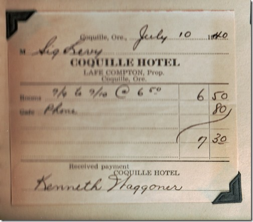 Coquille Hotel Bill