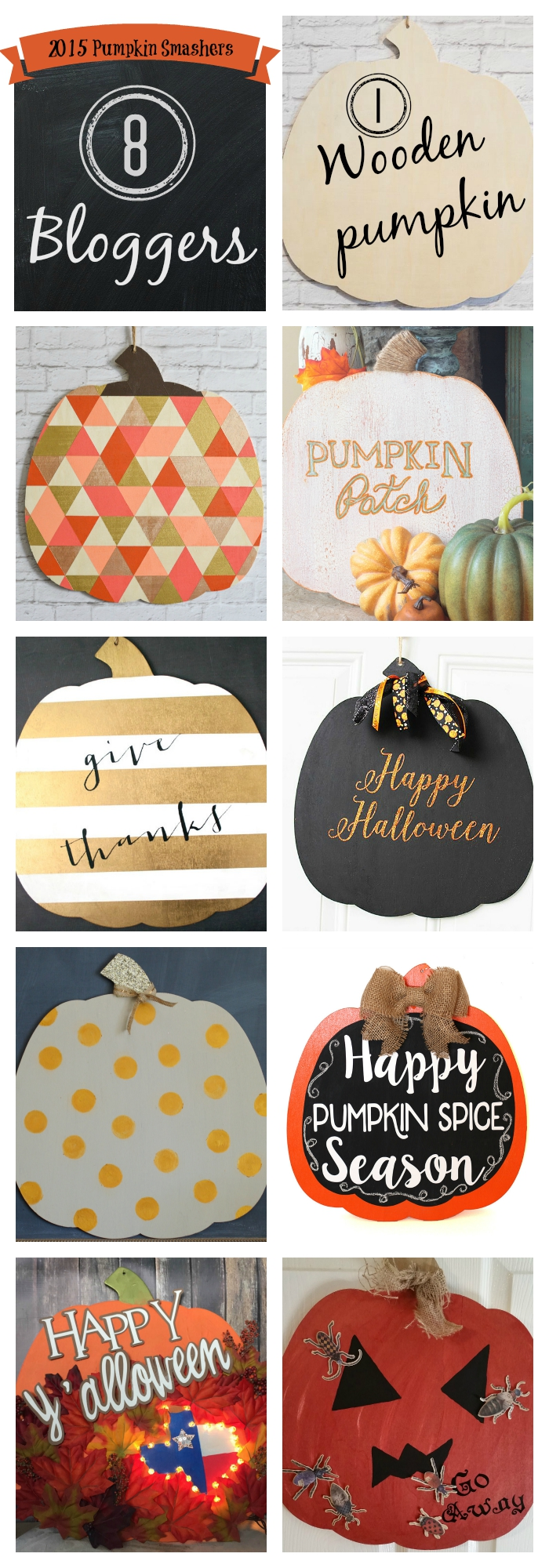 2015 Pumpkin Smashers Blog Hop. How to decorate a plain wooden pumpkin for Halloween. See how easy it is to use Fusion Mineral Paint and DecoArt Metallic Lustre. Also has a blog hop featuring 7 other bloggers decorating the same pumpkin. The possibilities are endless!