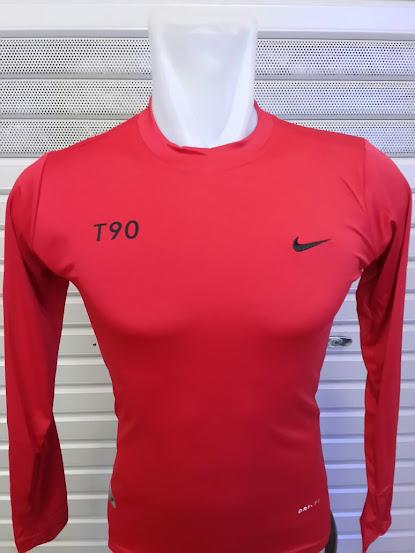 Jersey Baselayer Nike Merah Lengan Panjang