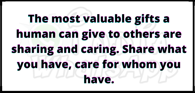 The most valuable gifts a human can give to others are sharing and caring. Share what you have, care for whom you have.