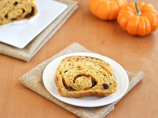 photo of slices of Pumpkin Cinnamon Swirl Bread