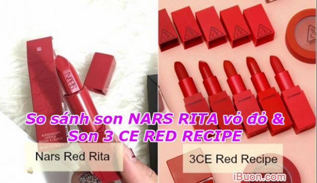 So sánh son NARS RITA vỏ đỏ và Son 3 CE RED RECIPE + Hình 1