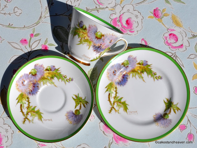 Royal Doulton Glamis Thistle bone china teacup trio