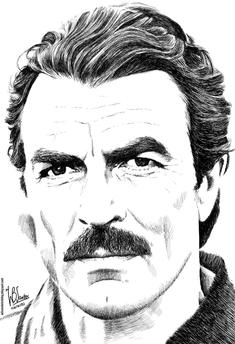Tom Selleck (Ink drawing)