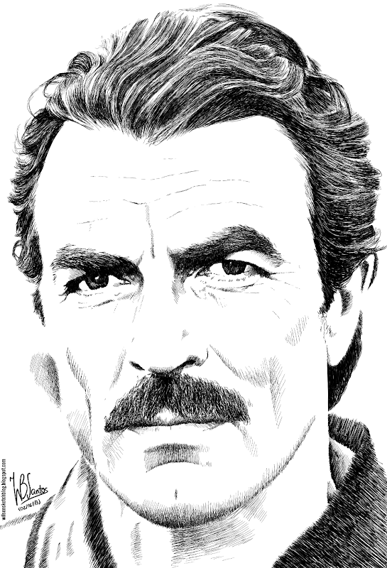 Ink drawing of Tom Selleck, using Krita 2.5.