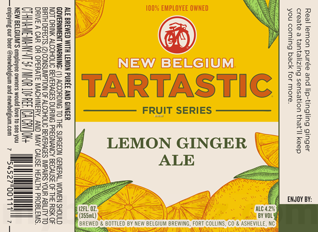 New Belgium Adding Tartastic Lemon Ginger Ale