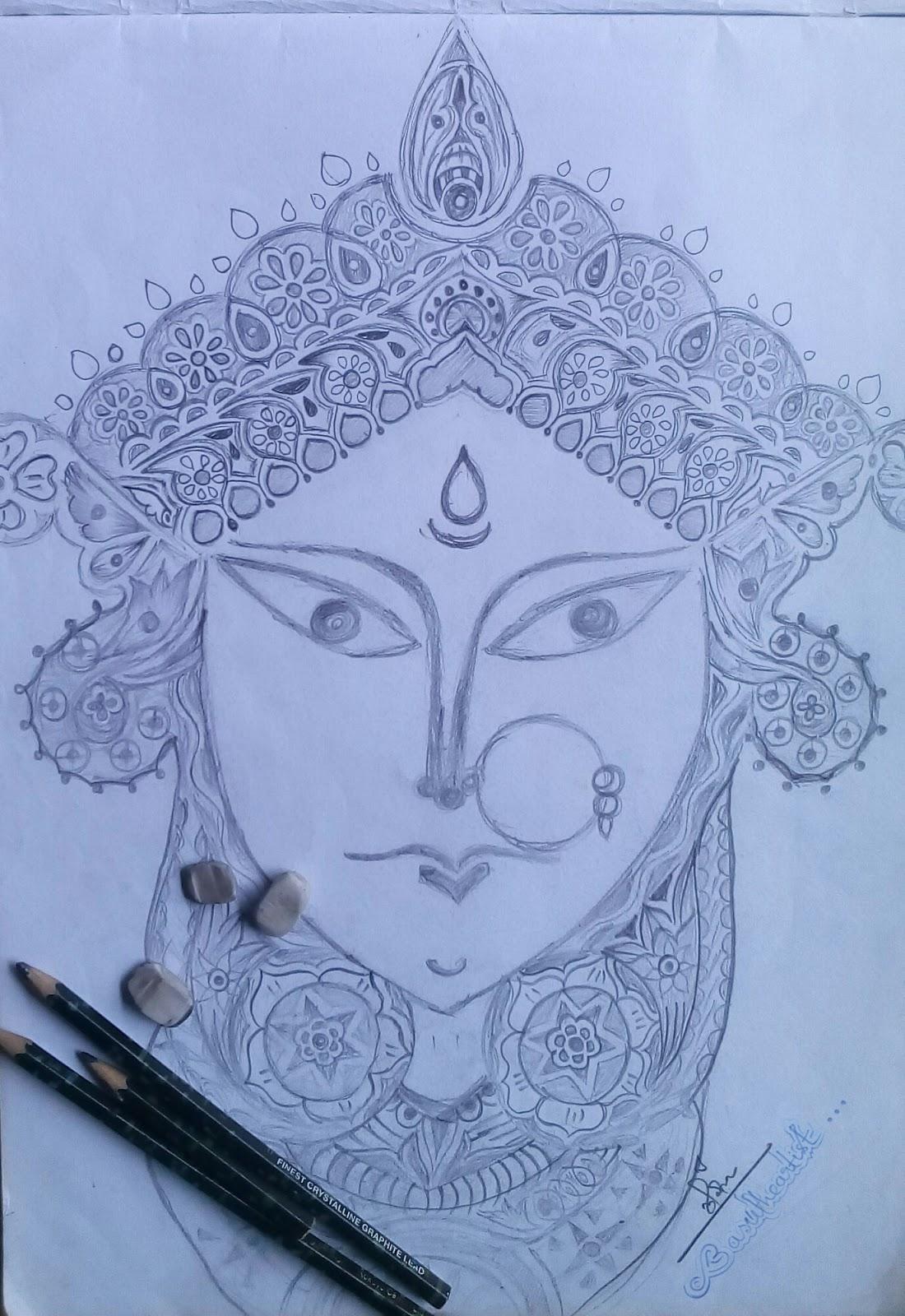 Maa durga pencil sketch basutheartist