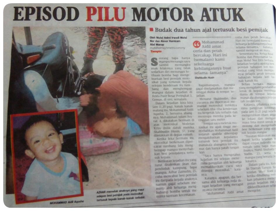 Kanak-kanak maut tertusuk besi pemijak motor.