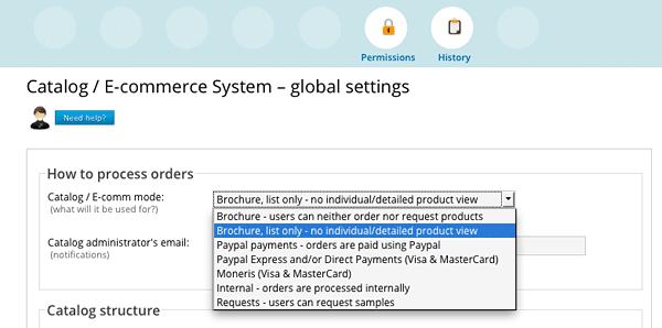 Catalog tool, global settings