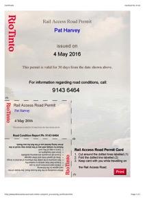 Pat Rail Access Certificate