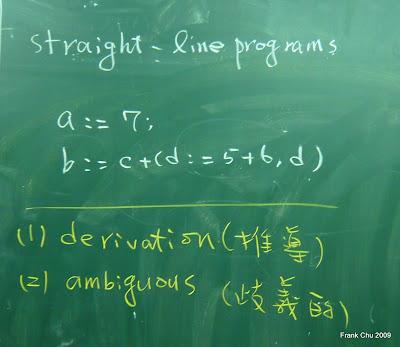 作為課本範文法範例用的程式語言:straight-line programs