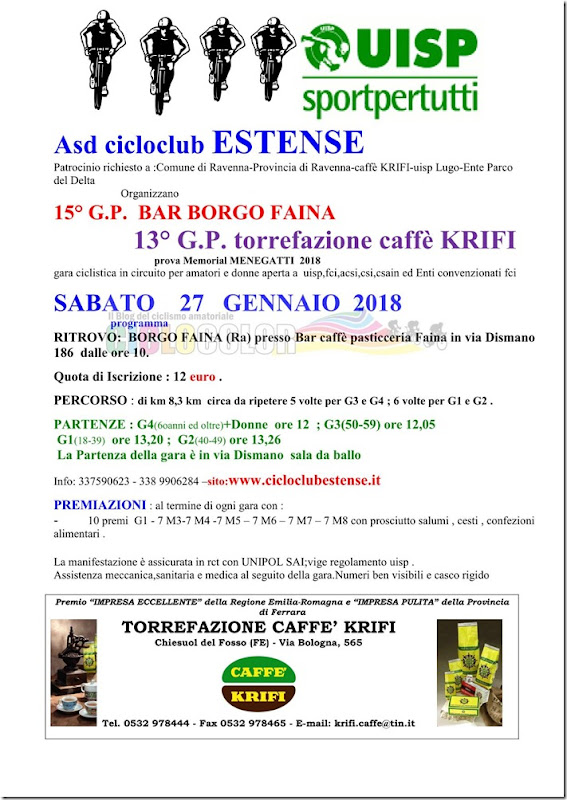 2018-01-27 UISP - Strada 15 GP Bar Borgo Faina prova Memrial Menegatti a Borgo Faina (RA) - Emilia-Romagna