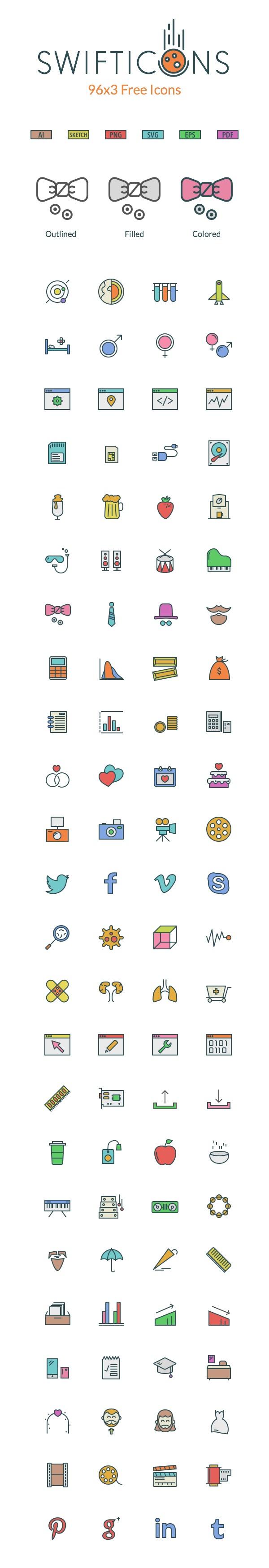 Free SwiftIcons – 96×3 Free Icons