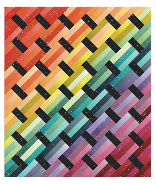Ombre version of the Fast Track quilt pattern - by Andy Knowlton of A Bright Corner using Ombre Fairy Dust fabric from Moda Fabric - a modern ombre quilt
