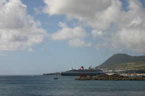 View of Queen Mary 2 docked in Saint Kitts