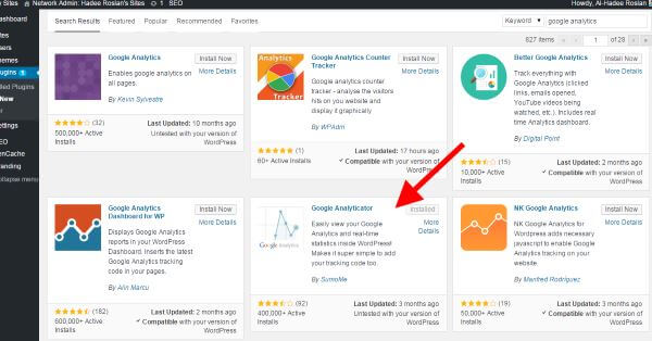 WordPress Plugin Search Google Analyticator
