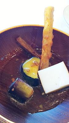 Eggplant, tofu, some fried vegetable from the side buffet at breakfast at Wakakusa no Yado Maruei