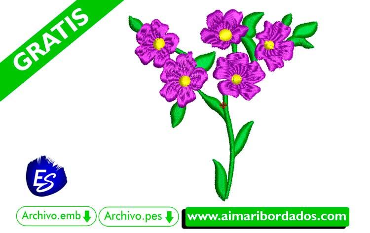 Flores Violetas bordar a máquina DESCARGA GRATIS