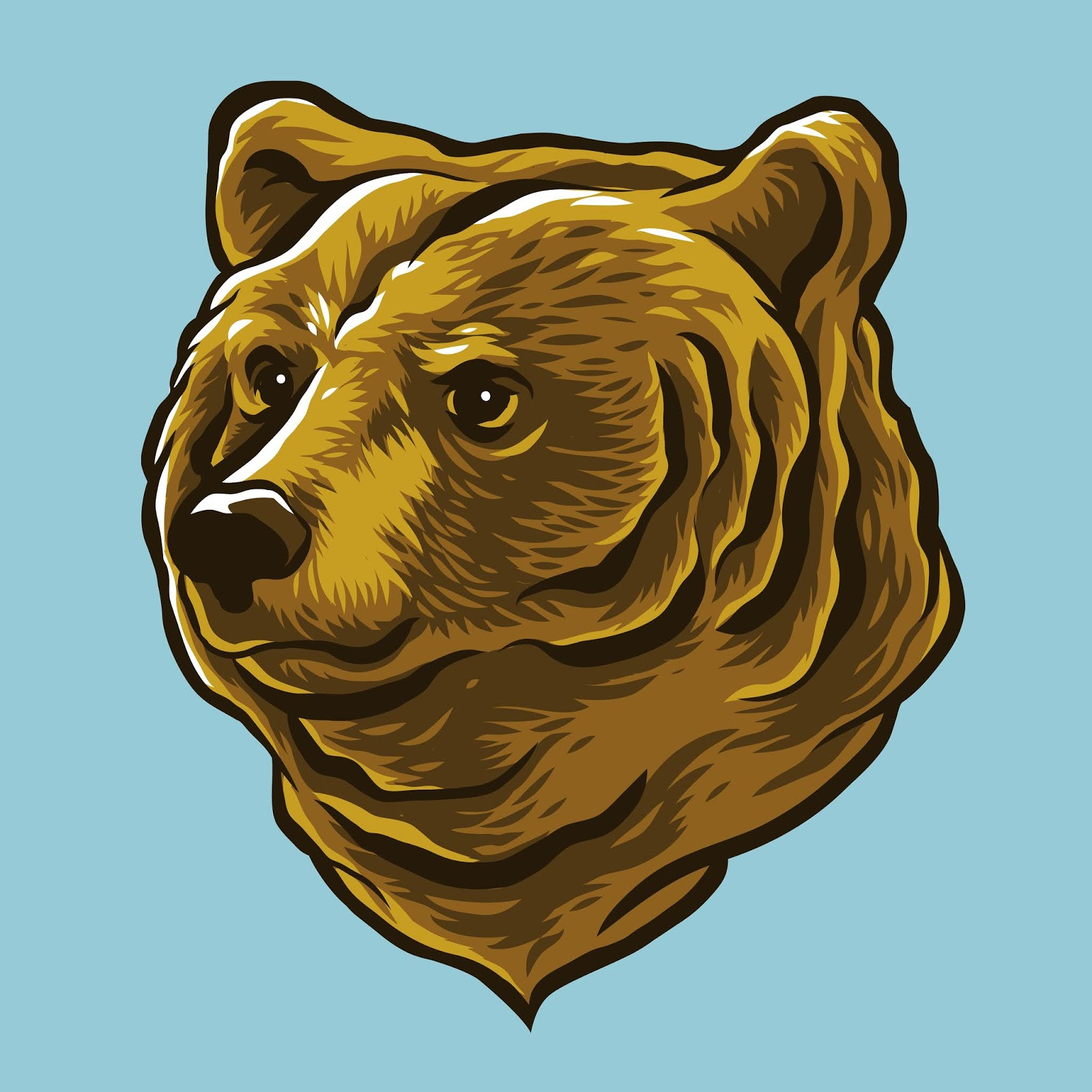 Hand Drawn Style Bear Head Illustration Free Download Vector CDR, AI, EPS and PNG Formats