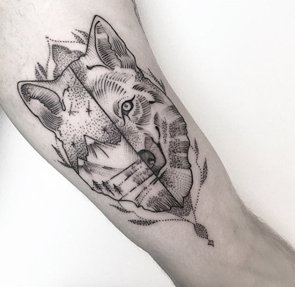 Este dotwork lobo design
