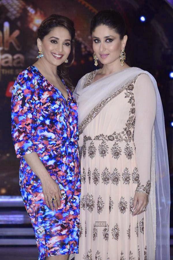 Madhuri Dixit and Kareena Kapoor on the sets of Jhalak Dikhhla Jaa 7.(Pic: Viral Bhayani)<br /> <br />