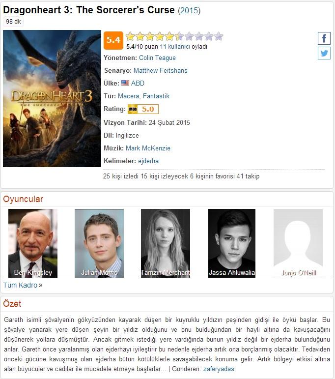 Ejder Yürek 3 Büyücünün Laneti 2015 - 1080p 720p 480p - Türkçe Dublaj Tek Link indir