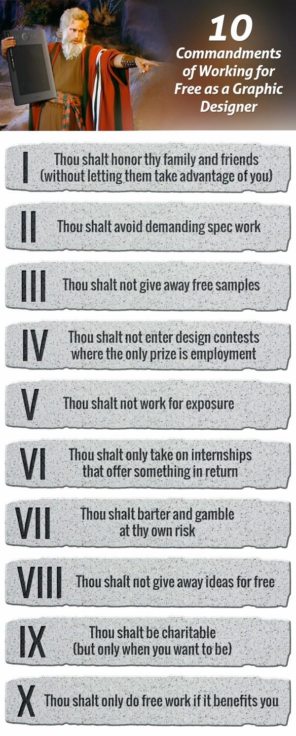 Los 10 mandamientos del trabajo gratuito para diseñadores gráficos (y demás profesionales)
