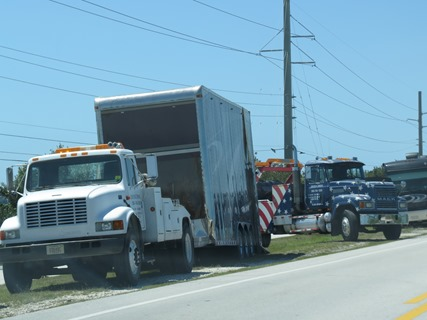 Cargo Trailer came loose from tag Diesel pusher near Key West on US 1