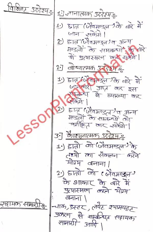 Jaiv Mandal Lesson Plan in Hindi