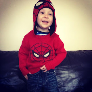 Blake Preston Clement wearing Spiderman jumper, hat and jeans from Baby Gap