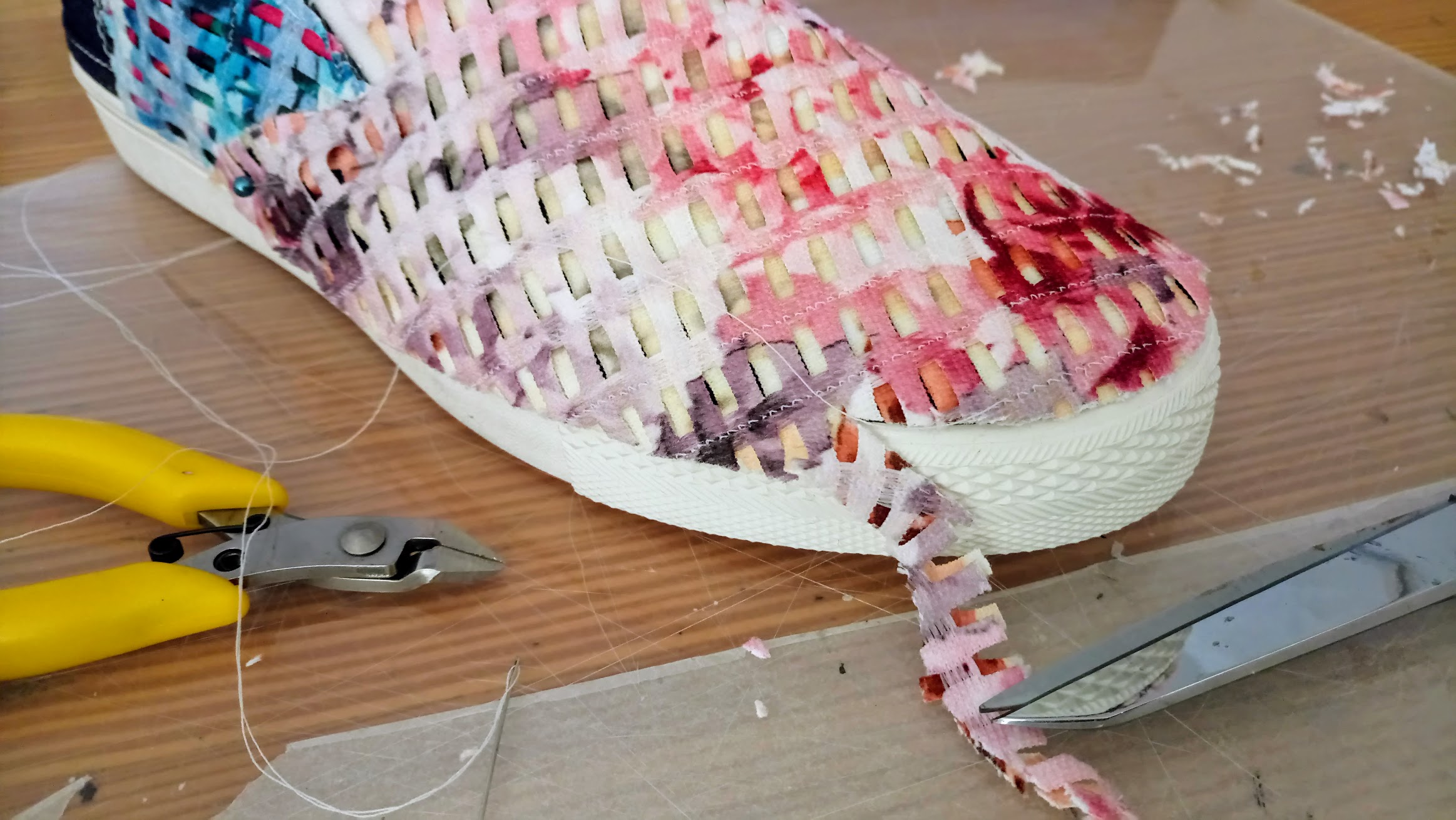 In-Progress: Fabric Collage Shoes - DIY Fashion project | fafafoom.com