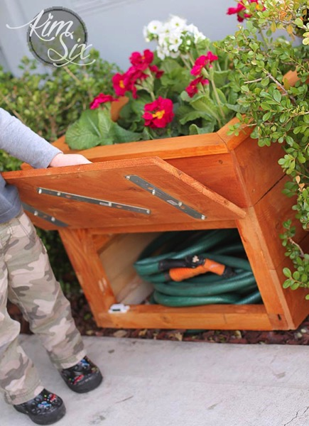 Hidden Garden Hose Storage In Flower Box