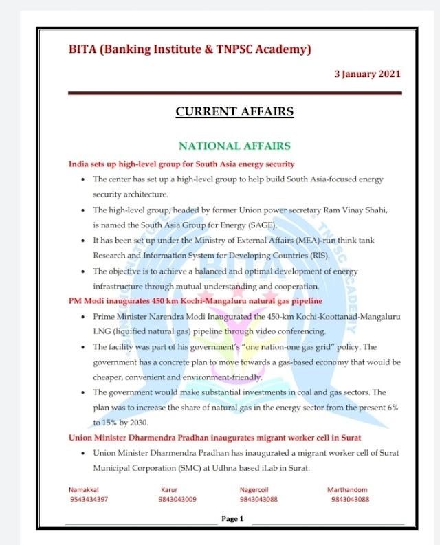 Banking Exam - Today Current Affairs  BITA Academy  ( 03 -  January  2021 )