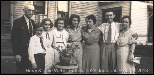 1928, Harry L. Weber (Dad), Harry, Dolly, Peg, Gin, Rose (Sis), Bob, Tillie (Kuhn) Weber, Mom