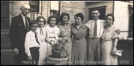 1928, Harry L. Weber (Dad), Harry, Dolly, Peg, Gin, Rose (Sis), Bob, Tillie (Kuhn) Weber, Mom