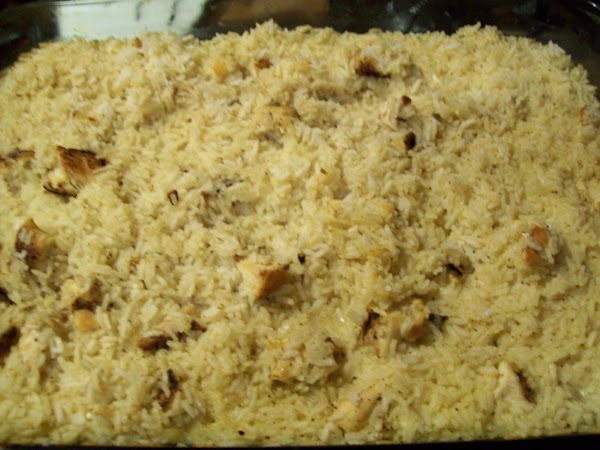 Bake in a 350 degree oven for 30-35 minutes, or until rice is tender....