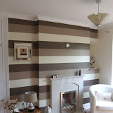 Morming room decoration in Merseyside. Wallpaper laid Horizontally to create illusion of more space (ideal for small rooms)