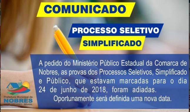 Prefeitura de Nobres suspende processo seletivo após recomendação do Ministério Público