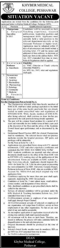 Khyber Medical College Peshawar Jobs 2021