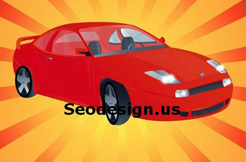 Free Fiat Sport Red Car Vector