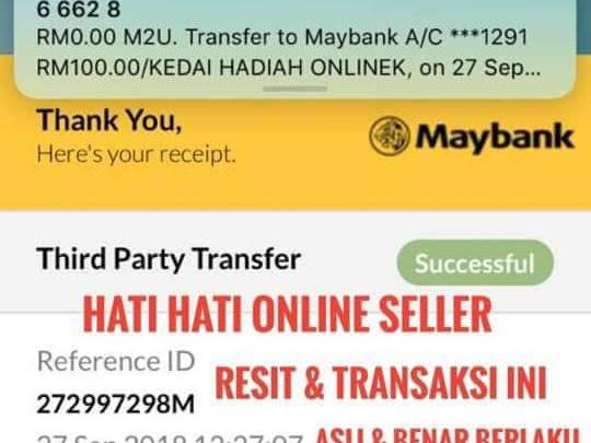 Teknik Tipu Resit Online Transfer! Terkini