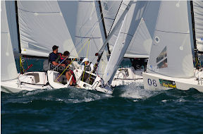 J70s sailing upwind at Key West