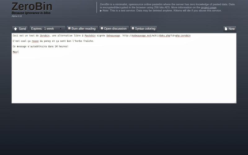 Zerobin – Test d'un Pastebin Like bien sympa – La vache libre