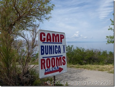 Croatia Camping Guide - Camp Bunica Sign