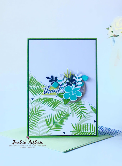 tropical chic, tropical thinlits, tropical escape dsp, stampin up, foliage frame framelits,