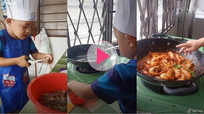(VIDEO) Anak Lelaki 3 Tahun Power Masak, Dah Macam Nak Bagi Sekampung Makan