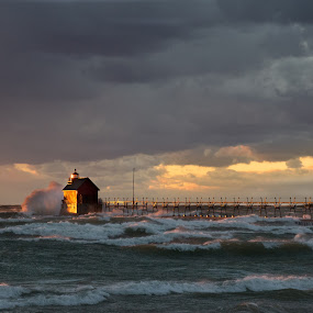 November Wind by Nathaniel Beighley - Landscapes Beaches ( clouds, wind, michigan, lake michigan, sunset, nikkor, d600, beach, nikon )